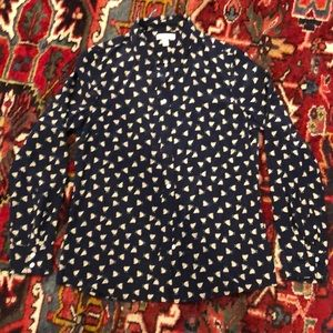 J Crew Navy Silk Button Down with Chicken Pattern